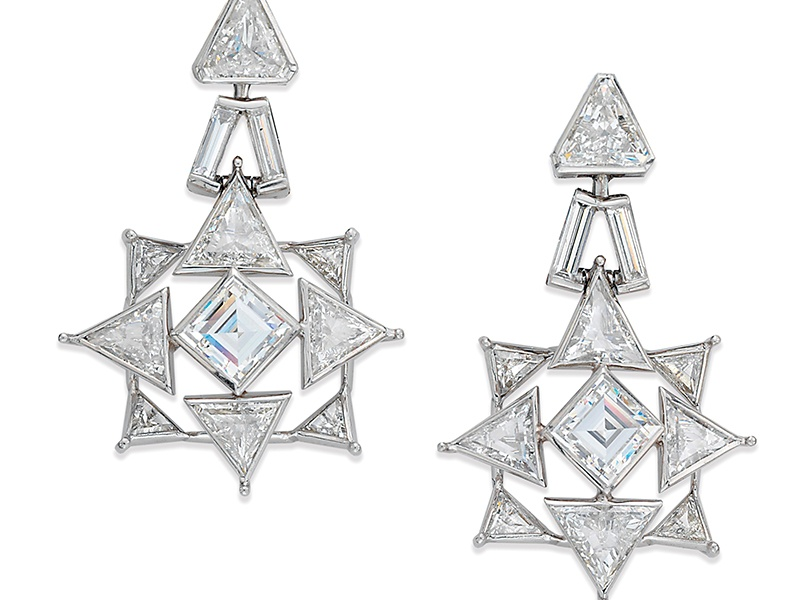 """Cartier's diamond-set """"rocket"""" ear pendants are typical of the influence of the Space Race on top-end jewelry design from the 1950s onwards."""