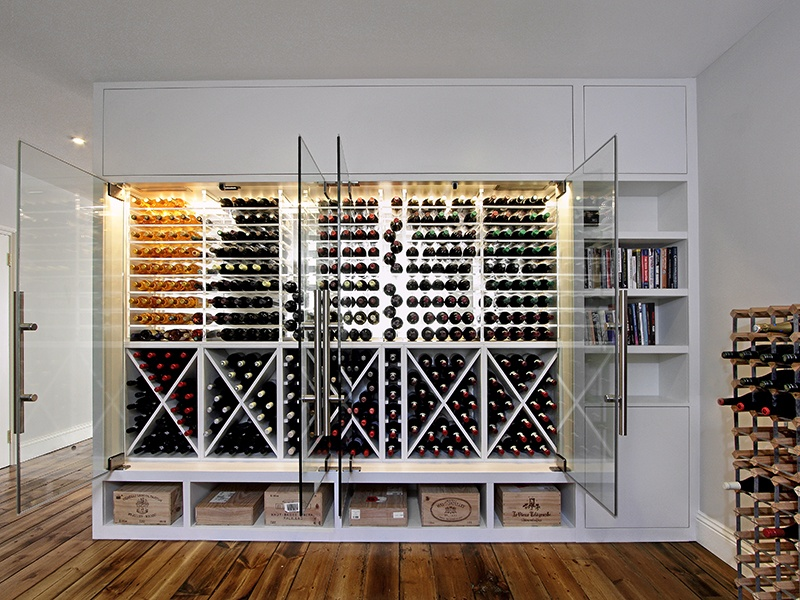 Cellar Maison's wine walls are a practical solution where floor area is limited—they are about as deep as a typical bookshelf.