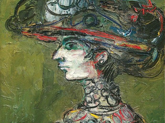 <i>Segundo Retrato de Flora</i> (detail) by René Portocarrero, 1965, oil on canvas. Exhibitor: Cernuda Arte, Coral Gables, FL