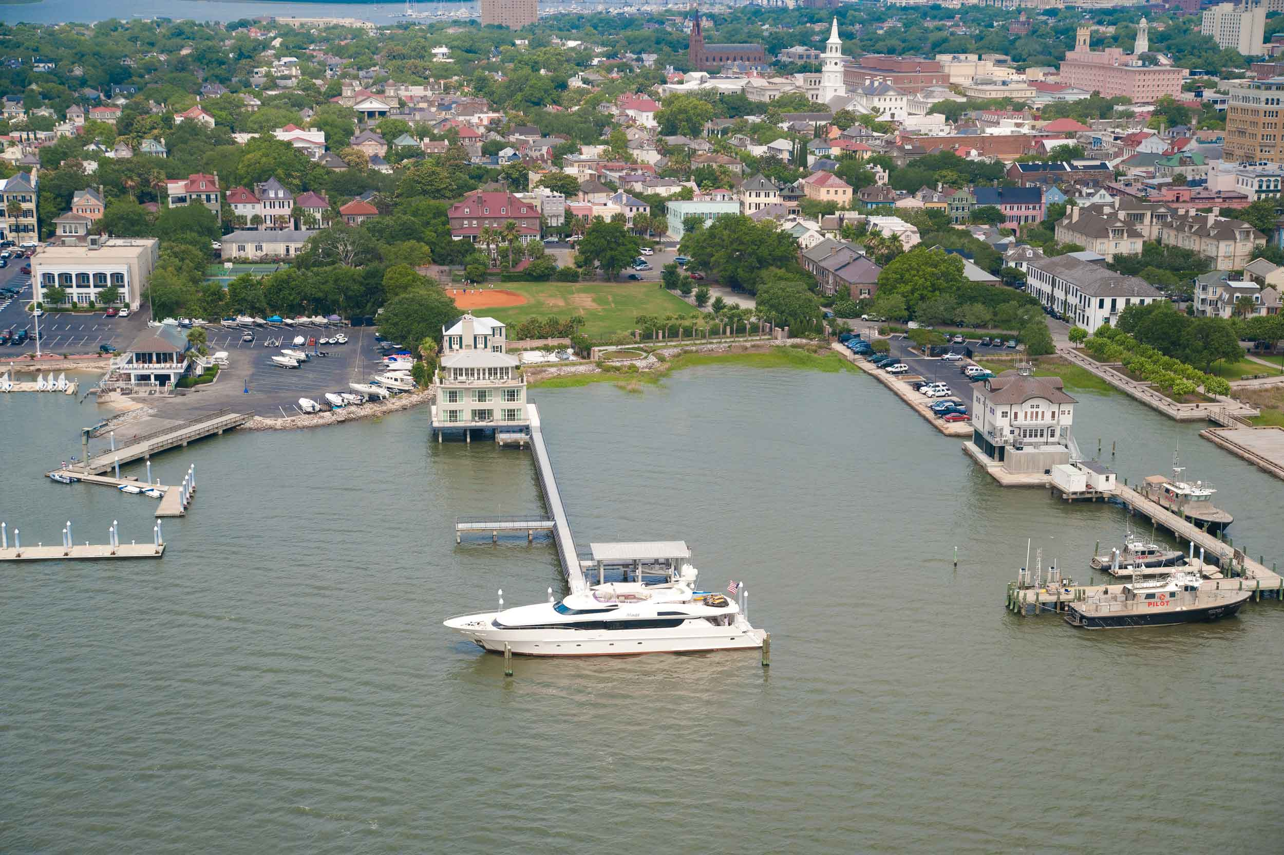 Once a degaussing station for the United States Navy, the Charleston Harbor Estate is the only private residence in downtown Charleston with its own boat dock.