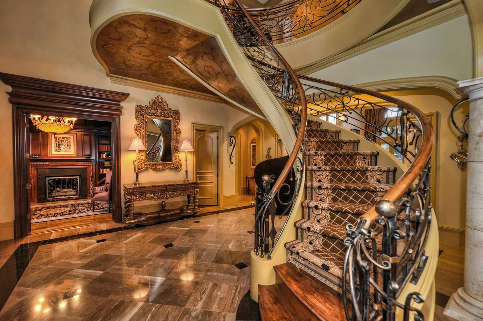 This Exquisitely Appointed Manor House Features A Signature Handcrafted  Suspended Stairwell Centered Among Soaring Two  ...