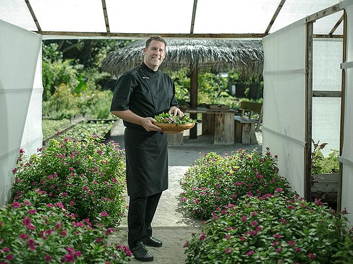 Executive chef John Bakker, in his pride and joy—his organic kitchen garden at Gili Lankanfushi, the Maldives. Photograph: Saki Papadopoulos