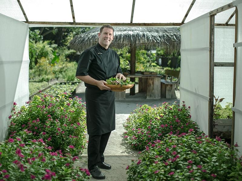 Executive chef John Bakker, in his pride and joy—his organic kitchen garden at Gili Lankanfushi, the Maldives. Photograph: Saki Papadopoulos