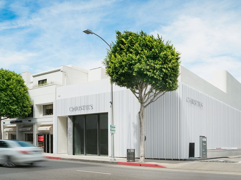 The pearlescent aluminum exterior of Christie's gallery space in Beverly Hills reflects the luxurious exhibits inside. Photograph: Adrian Tiemans
