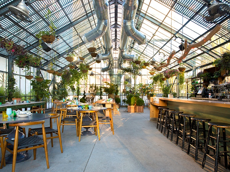Chef Roy Choi's Commissary, housed inside an impressive greenhouse atop the LINE hotel, makes vegetables the stars of the menu. Photograph: Audrey Ma