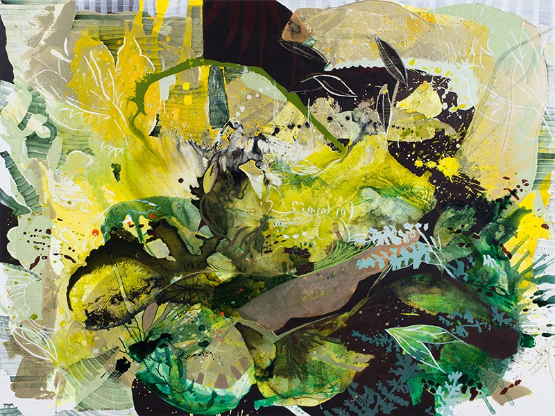 Elisabeth Condon, <i>Flower Space in Green</i>, 2016. Acrylic, ink, and glitter on linen, 54 x 72 inches. Courtesy Emerson Dorsch Gallery, Miami, Florida/Phillip Reed