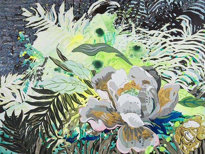 Elisabeth Condon, <i>Street Noise</i>, 2016. Acrylic on linen, 54 x 72 inches. Courtesy Emerson Dorsch Gallery, Miami, Florida/Phillip Reed