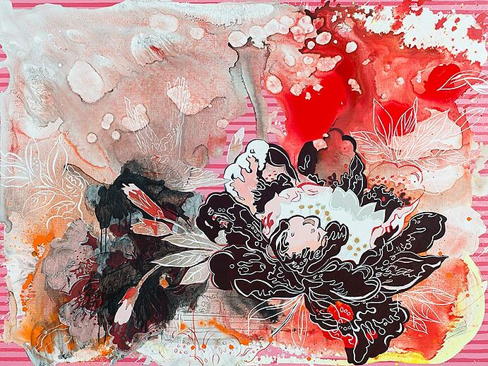Elisabeth Condon, <i>Unnatural Life</i>, 2016. Acrylic and ink on linen, 54 x 72 inches. Courtesy Emerson Dorsch Gallery, Miami, Florida/Phillip Reed