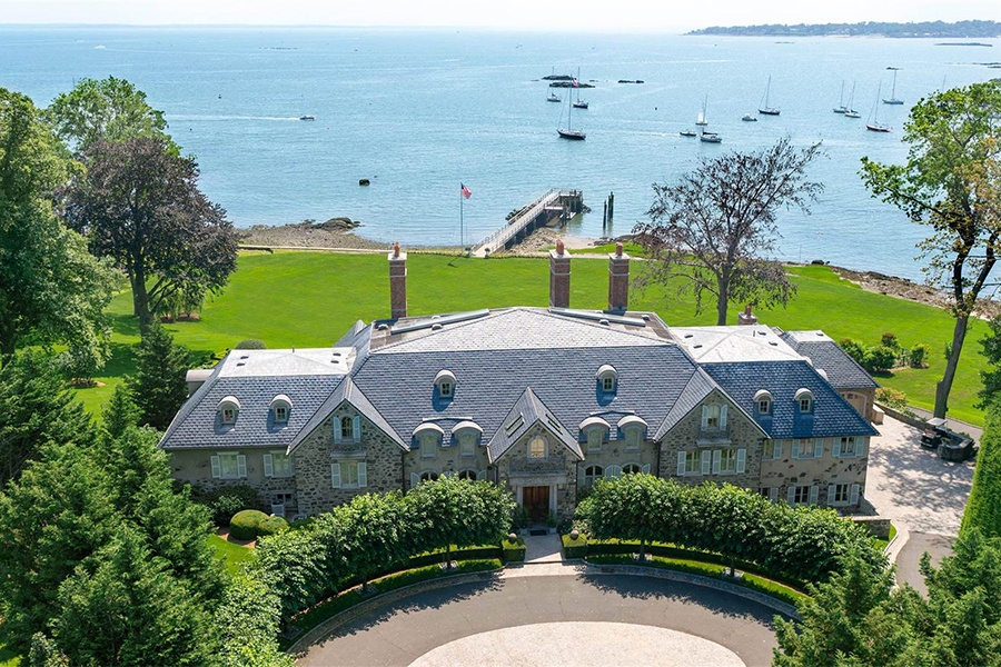 Few residences in Fairfield County offer such open views of Long Island Sound, let alone waterfront property, as this stone manor house in Darien.