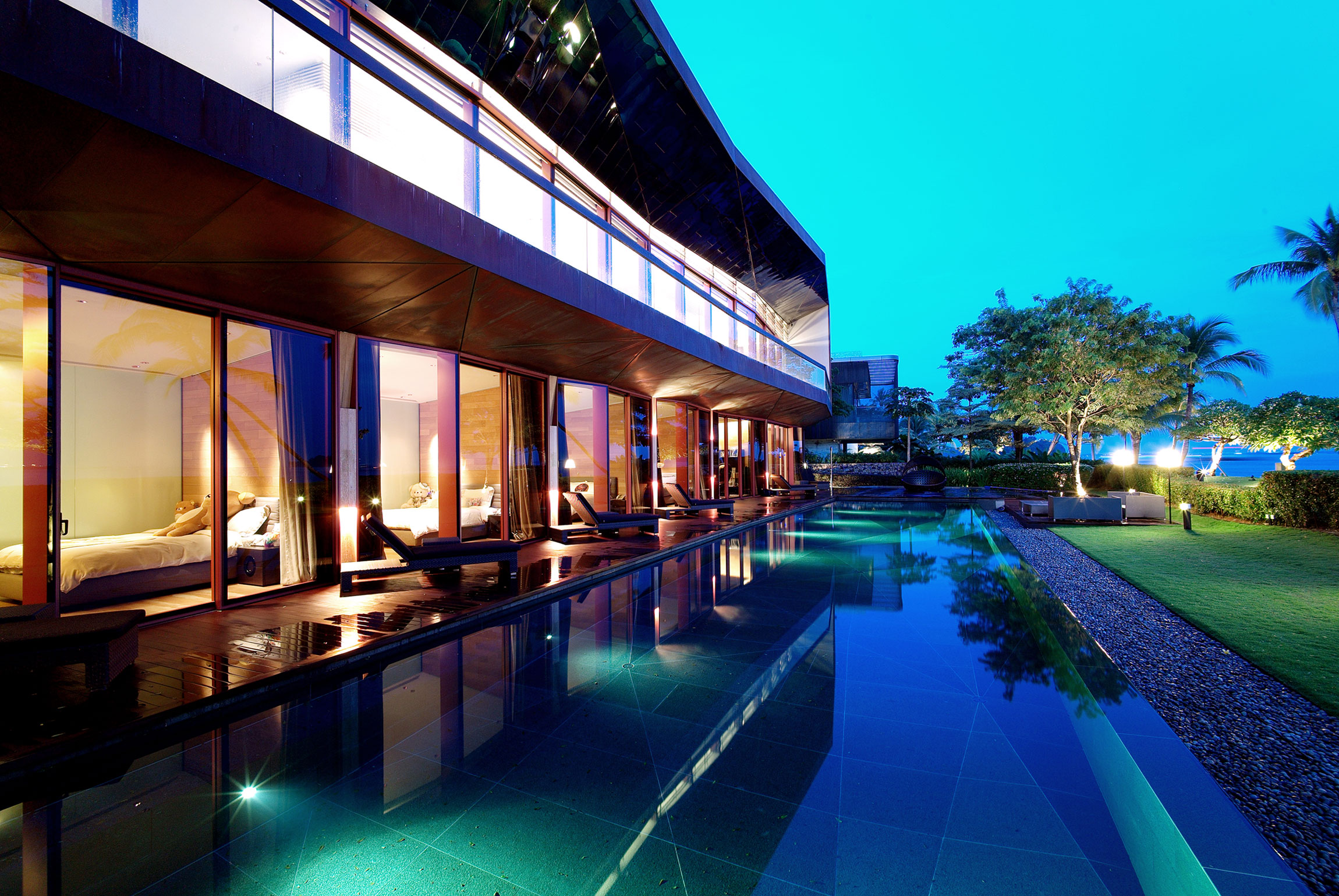 The Copper House, designed by award-winning architect Sonny Chan, is a one-of-a-kind waterfront estate on the coveted island of Sentosa, just off the coast of Singapore.