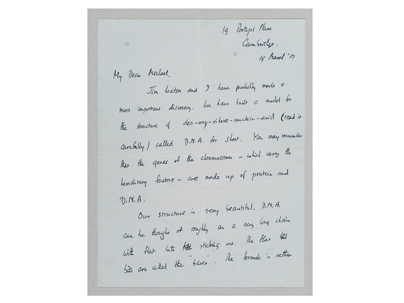 """Francis Crick's """"Secret of Life"""" letter was written by the British physicist to his son upon discovering the DNA molecule, one of the most important scientific discoveries of the 20th century."""