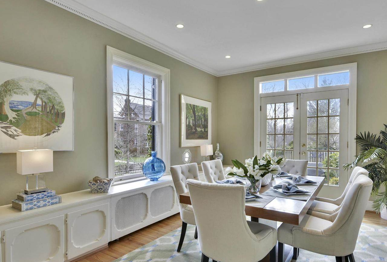 This elegant six-bedroom Colonial mansion in the coveted Washington, D.C., neighborhood of Woodley park offers access to two Metro stations and the Capital Bikeshare program. The Smithsonian's National Zoo is a 10-minute cycle away.