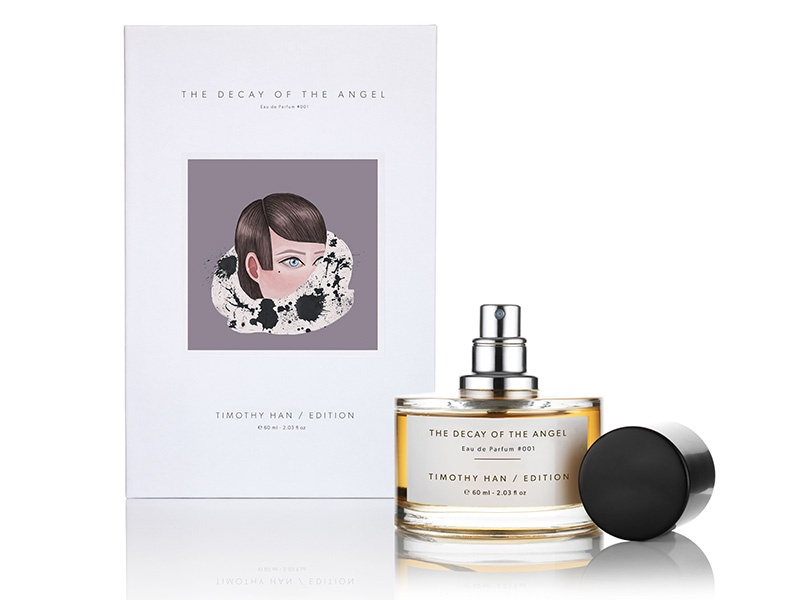 Han's first two fragrances were 100% natural. For the subtly heady <i>The Decay of the Angel</i>, he used two nature-identical ingredients: musk, for ethical reasons, and hedione, which is extremely costly to extract from nature.