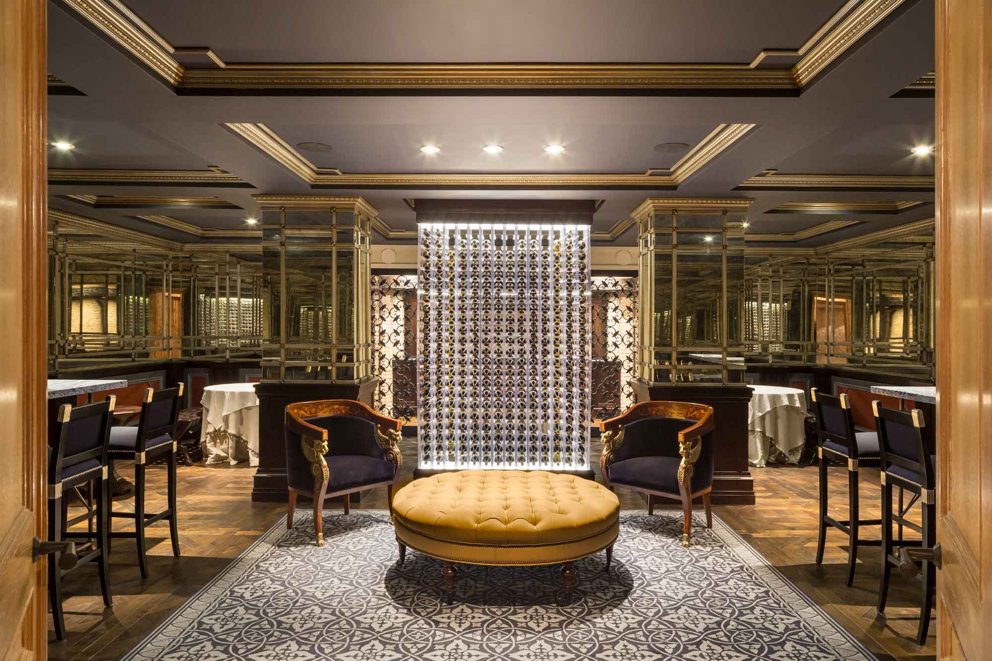 Darlington's wine room connects to a wine cellar and a private-club-style recreation area.