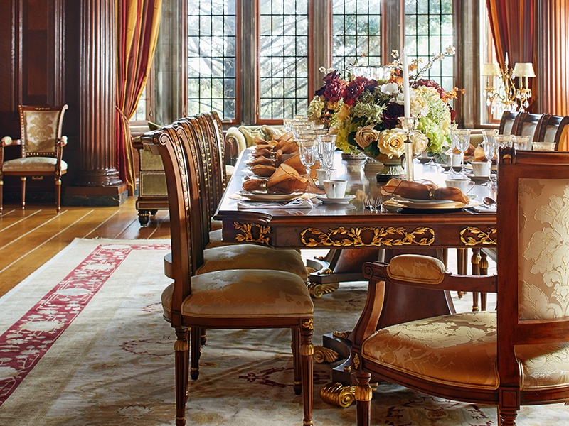 The formal dining room in Darlington's south wing, with its spectacular carved wooden ceiling. Photograph: Laura Moss