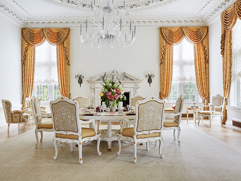 In contrast to the carved brown wood seen elsewhere in the home, the tearoom is a tranquil sea of white. Photograph: Laura Moss