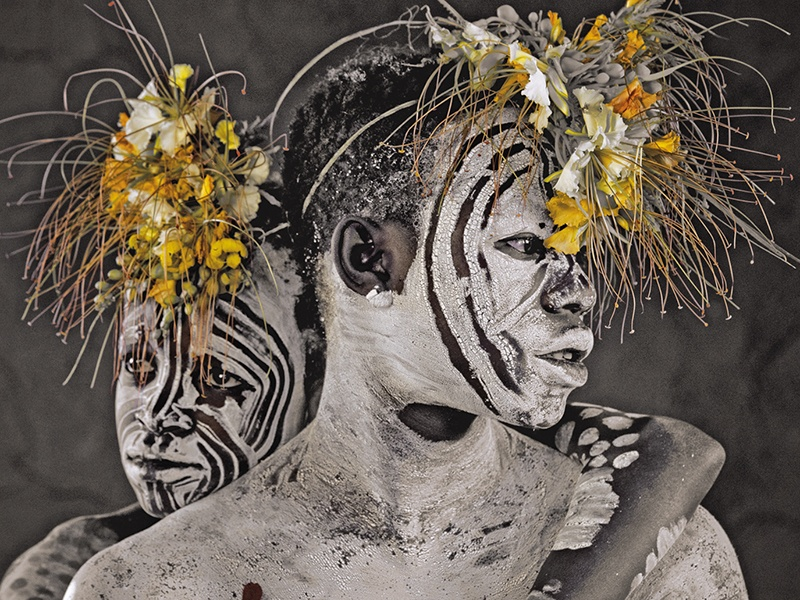 The Karo in the Omo Valley, Ethiopia, decorate themselves with white markings – as photographed by Jimmy Nelson – to attract a partner, but also to appear more intimidating to rival indigenous groups in the region and as a means of enhancing their status. Photograph: © Jimmy Nelson Pictures BV