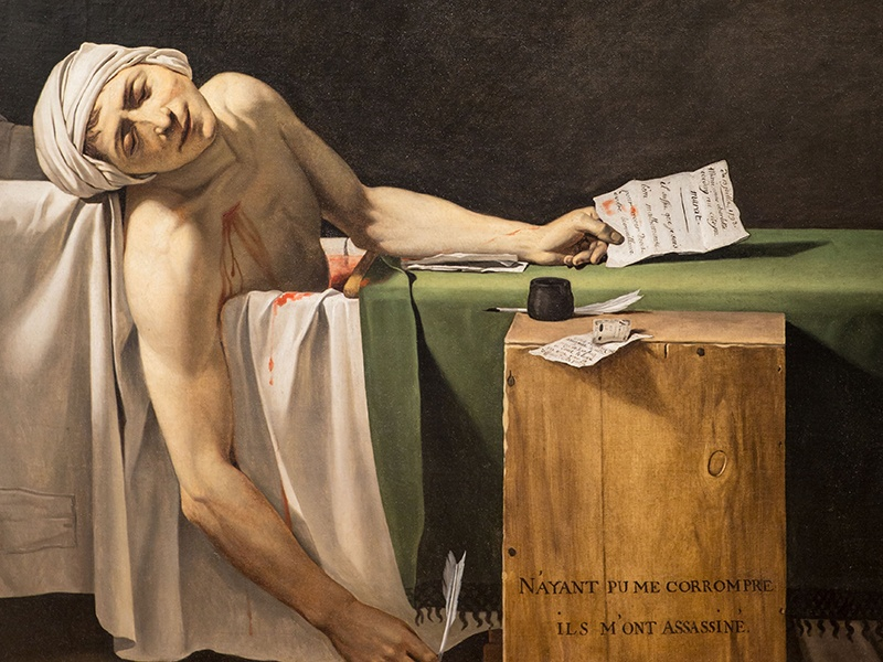 <i>The Death of Marat</i> (1793) was painted by Jacques-Louis David just days after Jean-Paul Marat's murder. Photograph: Alamy