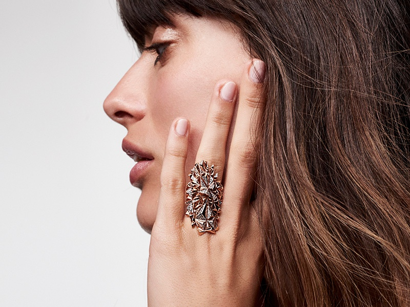Kordas's Eclipse collection features rings and earrings that evoke the Icelandic landscape as well as the energy of Cubism. Photograph: Courtesy of Diane Kordas