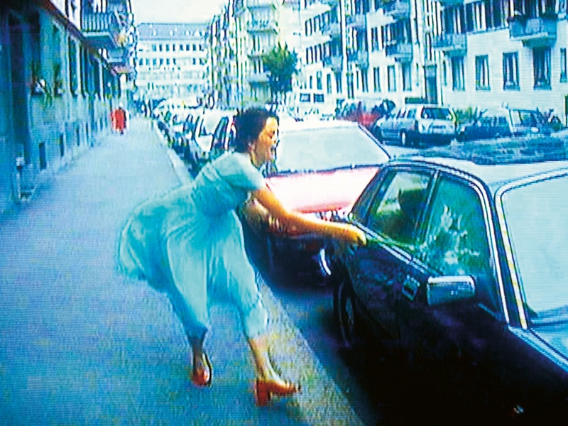 A video still from one of Swiss artist Pipilotti Rist's arresting audio video installations, <i>Ever Is Over All</i> (1997). Photograph: Pipilotti Rist, Courtesy the Artist, Hauser &amp; Wirth, and Luhring Augustine