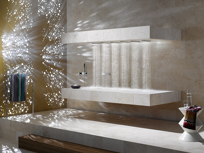 """Featuring six adjustable water jets above a heated recliner, Dornbracht's horizontal shower is designed to deliver a tailored experience that can be """"balancing,"""" """"energizing,"""" or """"de-stressing."""""""