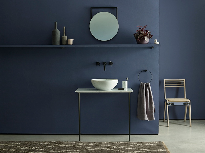 Trumpet by Earthborn is a deep bluey purple with chalky undertones, designed to envelop and relax.