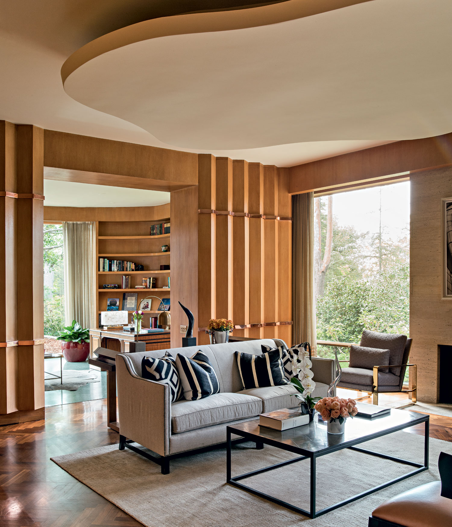 The paneled Art Deco library-cum-den was, and remains, the focal point of this residence, which has been immaculately restored to its former glory.