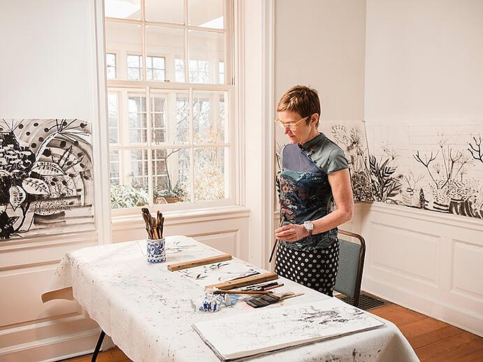 """Treating the painting like a drawing invites serendipity and freedom,"" says Elisabeth Condon. Photograph: Laura Barisonzi"