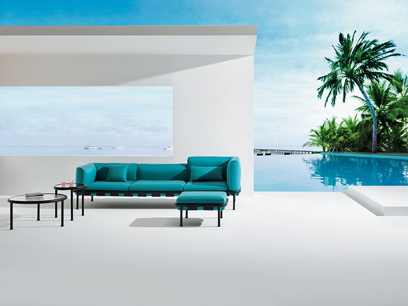 The weatherproof Dock range of modular seating, by EMU; various elements are available for combinations to suit all spaces, in colorways black, white, and shades of blue, green, gray, and brown.