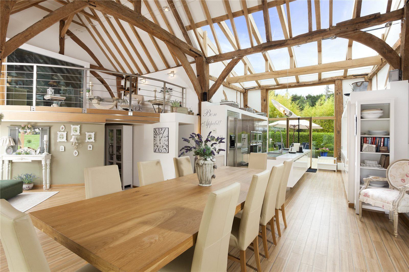 This impeccable barn conversion in the English village of Upper Harbledown, Kent, has been fitted with a sophisticated smart-home system, featuring Evolution by Mode LED lighting panels.