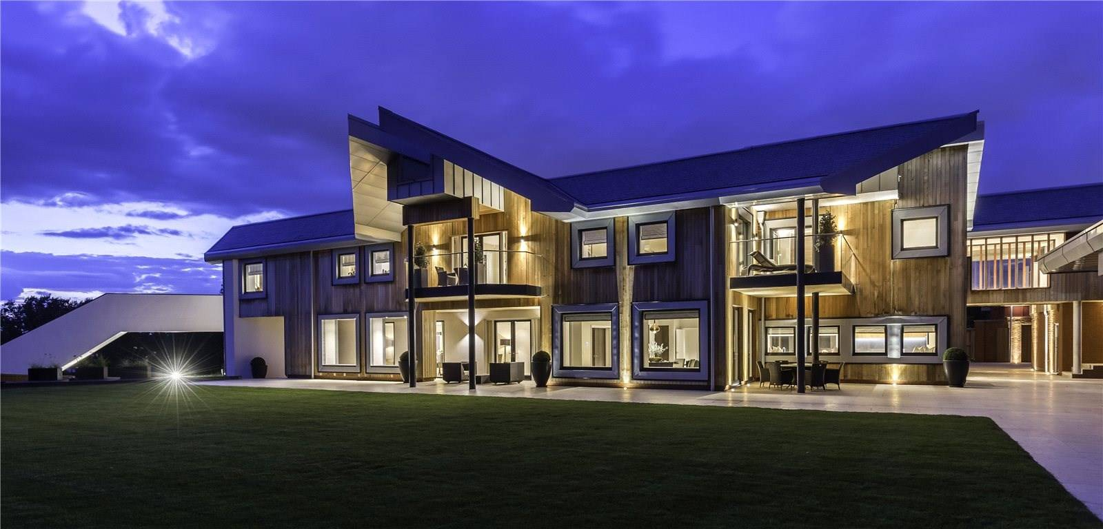 This newly built 23,500-square-foot contemporary-styled manor house is set in 40 acres of land in prime polo territory just outside Windsor, with views of the castle.
