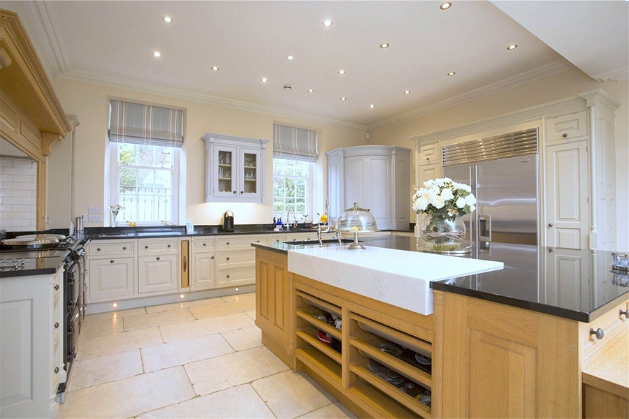 This stunning, 29-acre Yorkshire estate features a main family kitchen and an additional catering kitchen, ensuring ample space for everyday cooking or party prep.
