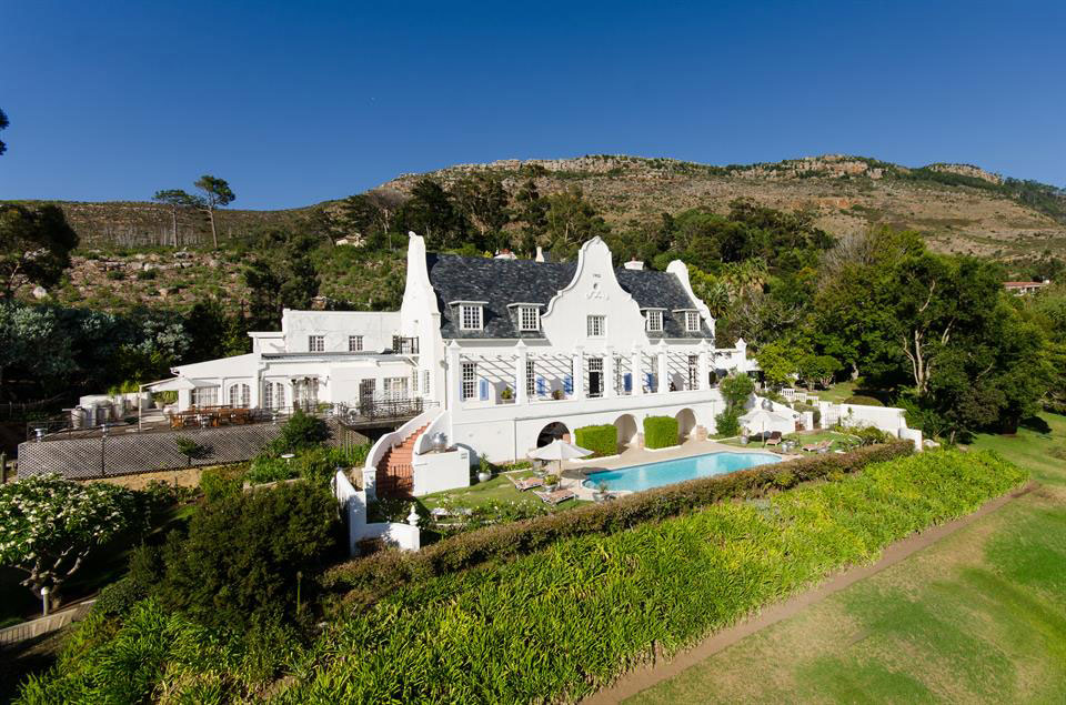 This 18th-century Cape Dutch manor house in South Africa's Constantia Valley has 17,750 square feet of interior space with room for 20 overnight guests; the estate's private wellness center ensures post-holiday R&R.