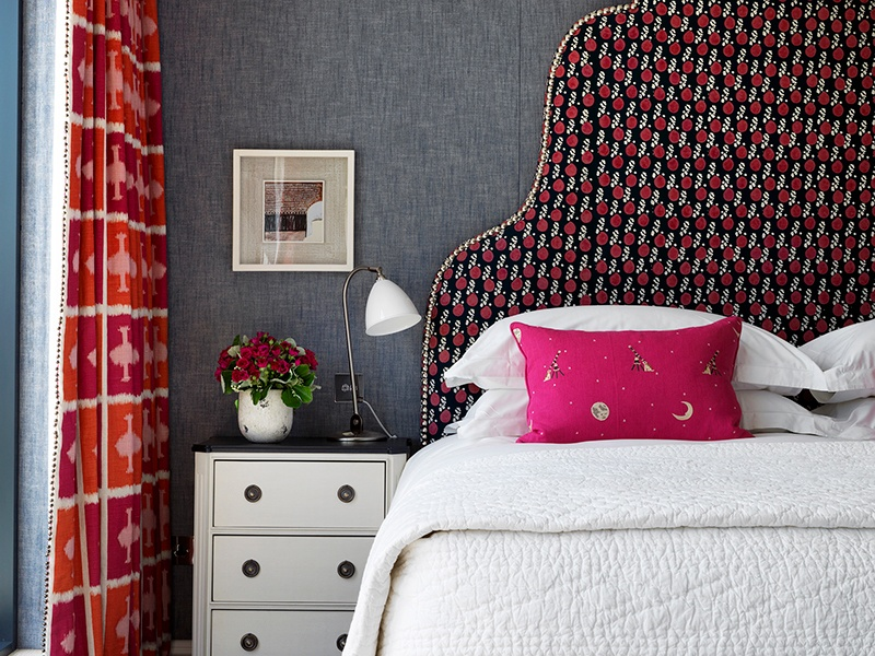 Kit Kemp has individually designed each of the 91 bedrooms at Ham Yard Hotel, with an innovative mix of color, pattern, texture, and art. Photograph: Simon Brown
