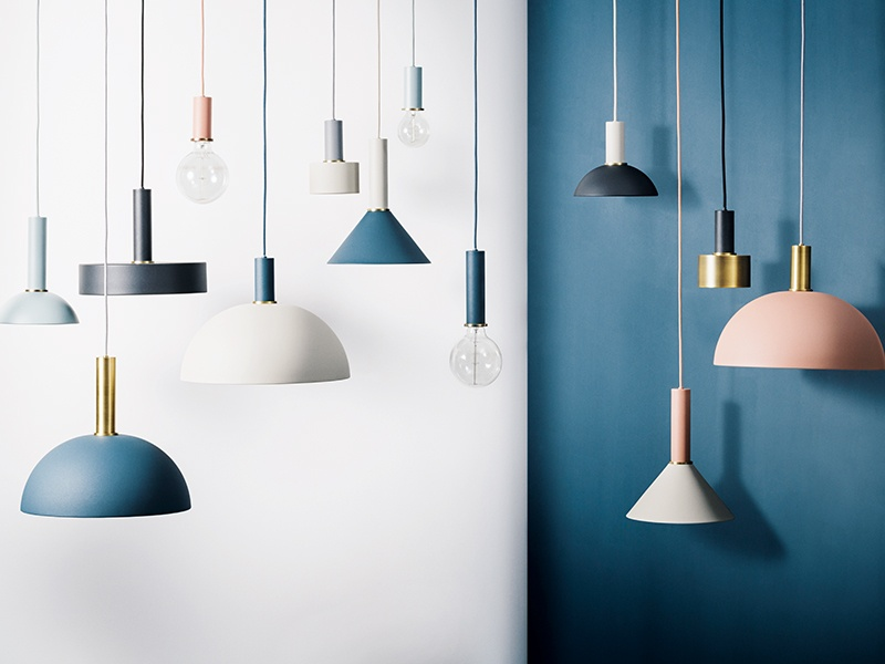 Fermi's Collect Lighting range; choose between 12 different sockets, long or short, and shades in blue, gray, black, rose pink, and brass.