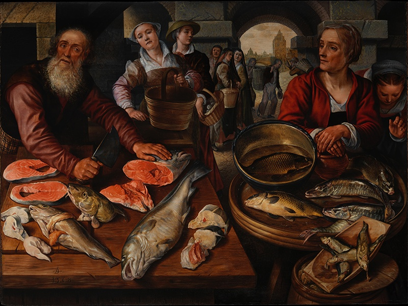 Joachim Beuckelaer's <i>Fish Market</i> (1568) represents a change in the way still-life paintings were created—with Beuckelaer rejecting the trend of capturing purely religious themes.