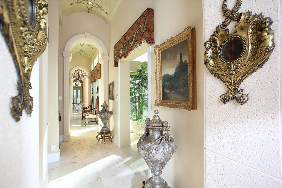 Exquisite details grace every room of this spectacular Mediterranean-style estate on the Florida coast.