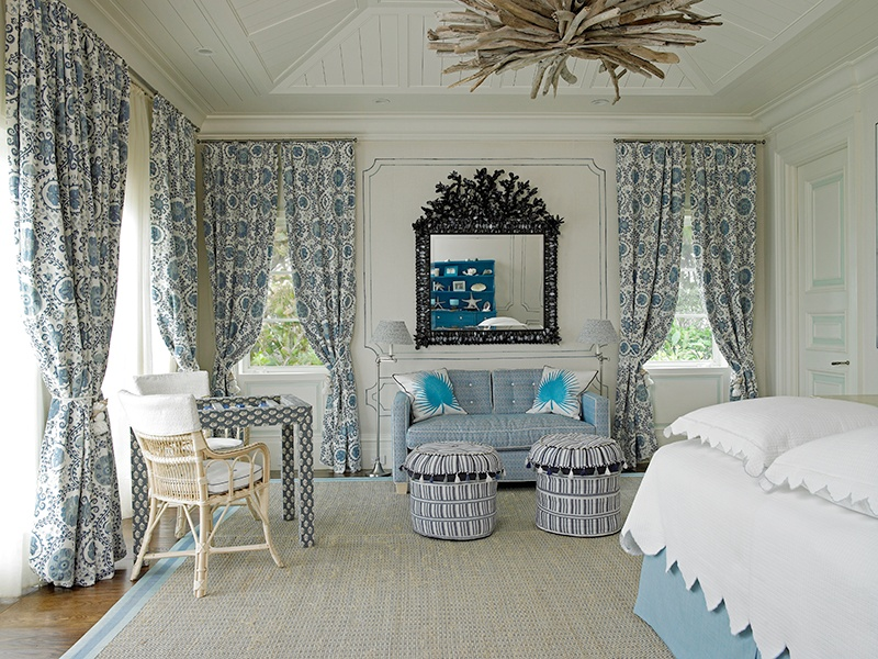 Combining a subtle palette with bolder fabrics, this bedroom at Palm Beach's Casa Bendita also has standout ceiling decor. Photograph: Mark Roskams