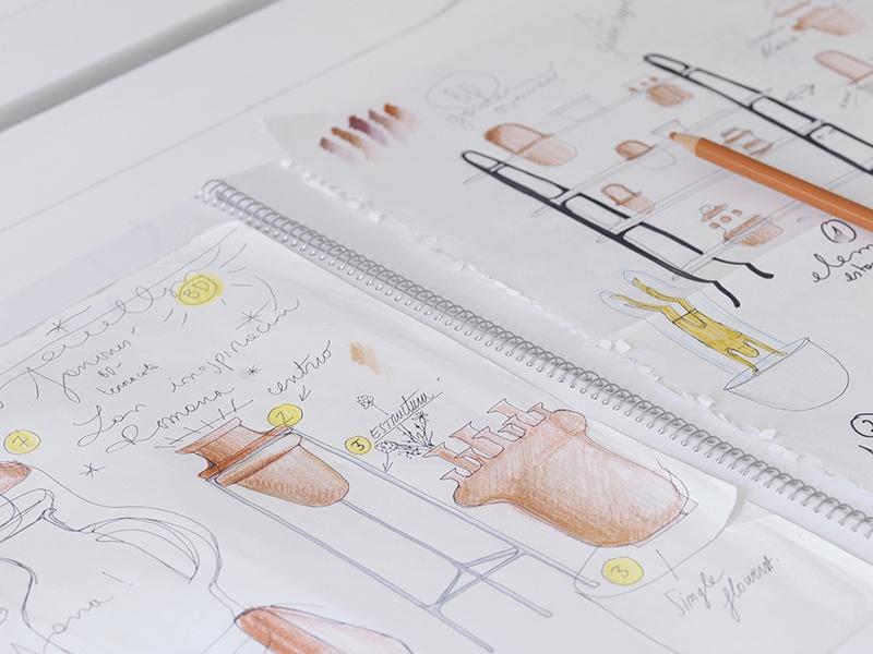 A sketch for the Gardenias Collection garden vases, for BD Barcelona Design. Photograph: Hayon Studio