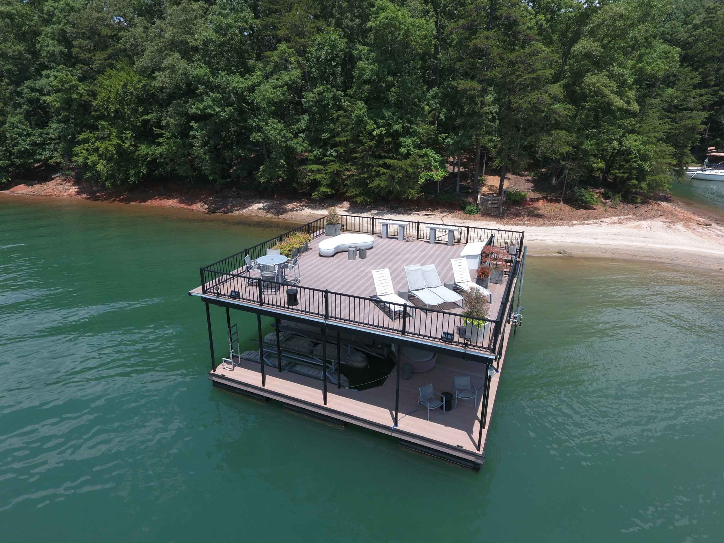 This waterfront estate on Lake Lanier has a stellar lineup of amenities, but its deepwater boat dock with upstairs entertainment deck steals the show.
