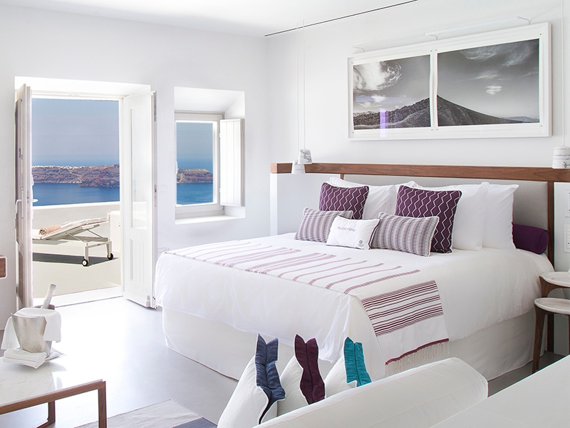 All of Grace Santorini's guest rooms and suites feature work from the Hephaestus & Calliste collection.