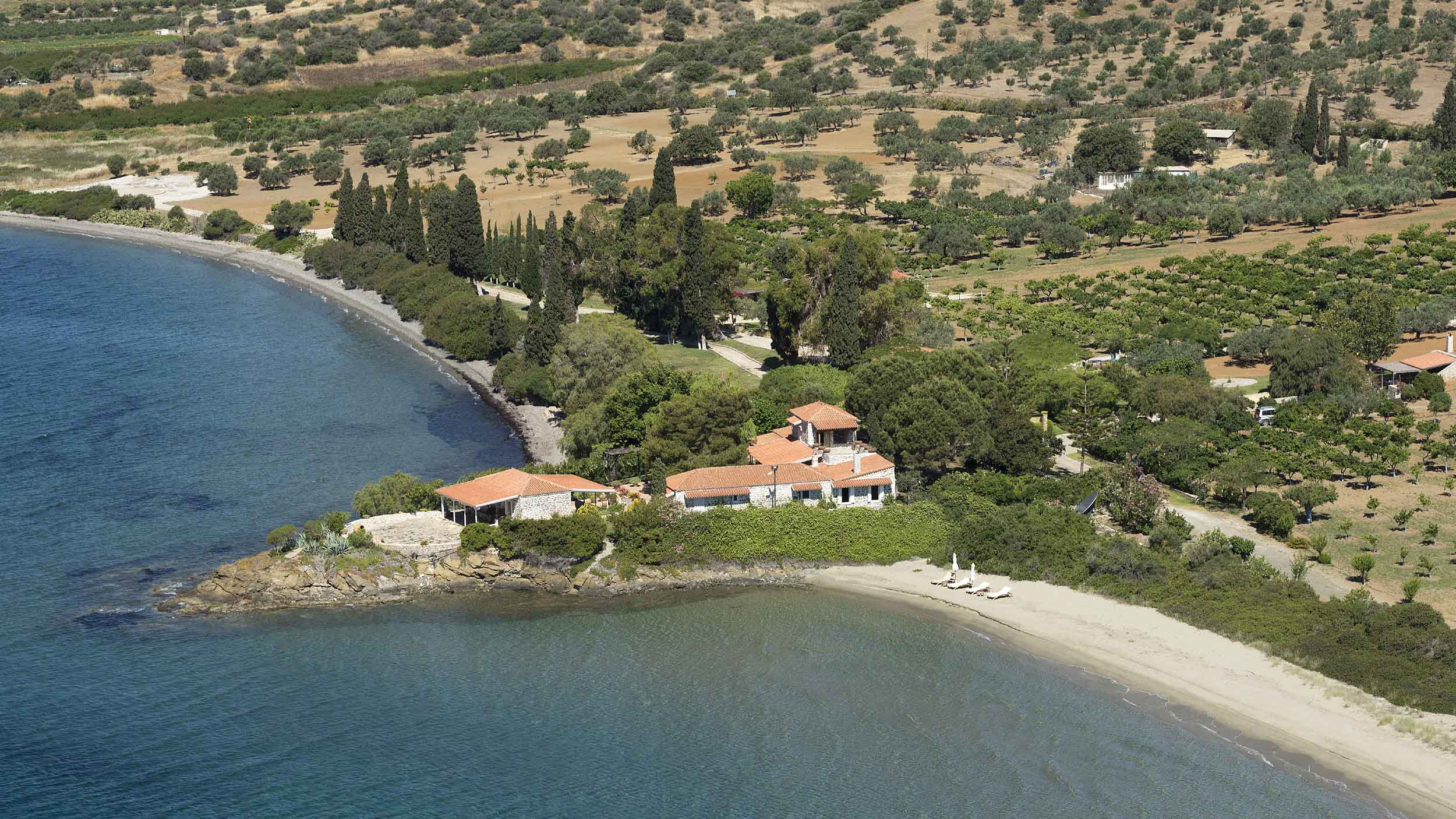 The Greek estate on the Pelopponese is an impressively self-sufficient coastal enclave with its own water sources and a 4,000-tree orchard of olives and fruit.