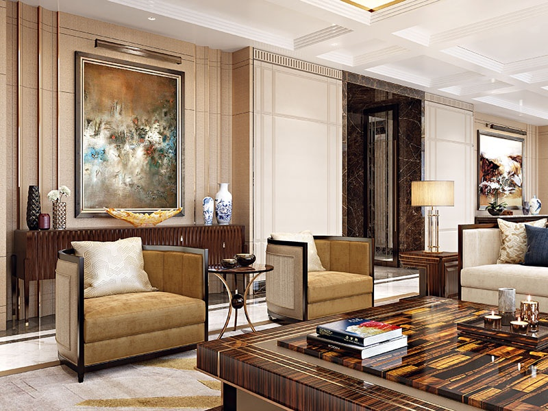 A close-up of the reception space in an ultra-luxury apartment in Beijing, China, reveals a rich, layered, and contemporized interpretation of classical proportion and detailing. Photograph: HBA Residential