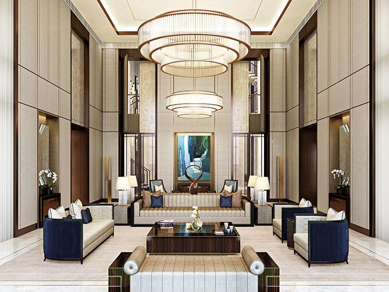 Proporção, linha e materialidade da arquitetura do interior, mais a relação com os móveis e utensílios são reveladas no espaço de recepção desta casa particular em Pequim, China.  Foto: HBA Residencial