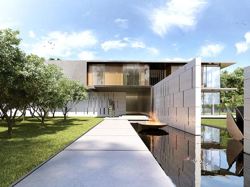 A visão de abordagem para a residência privada de Deli.  O design low-rise inclui pavilhões e um pátio central de arte.  Foto: HBA Residencial