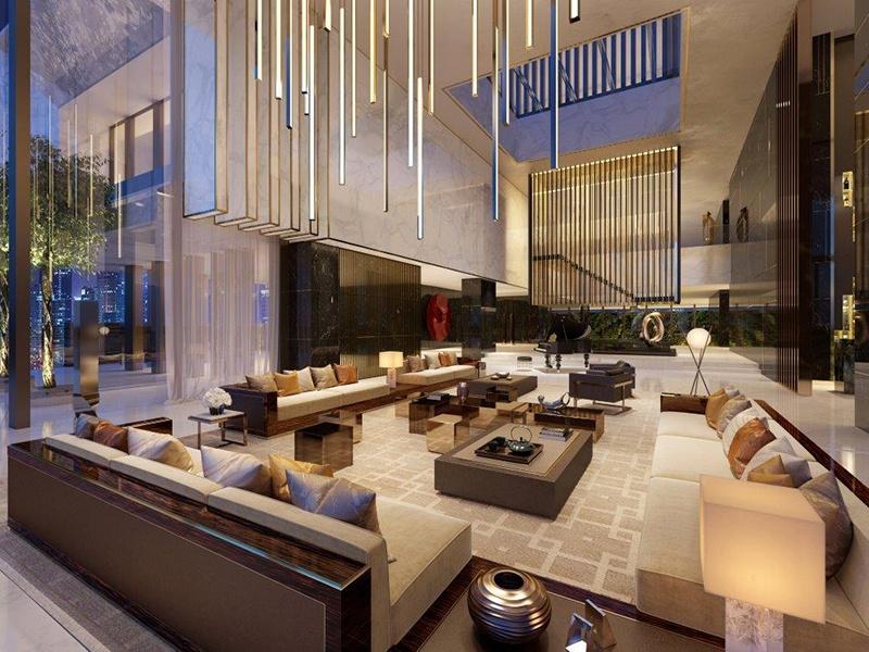 Intervenções em escala de instalação de escadas, telas e luminárias harmonizam com móveis de tamanho residencial nesta casa em Xi'an, China.  Foto: HBA Residencial