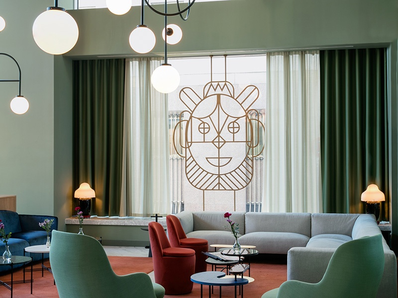 The interior of Hotel Barceló Torre de Madrid. Photograph: Hayon Studio/Klunderbie