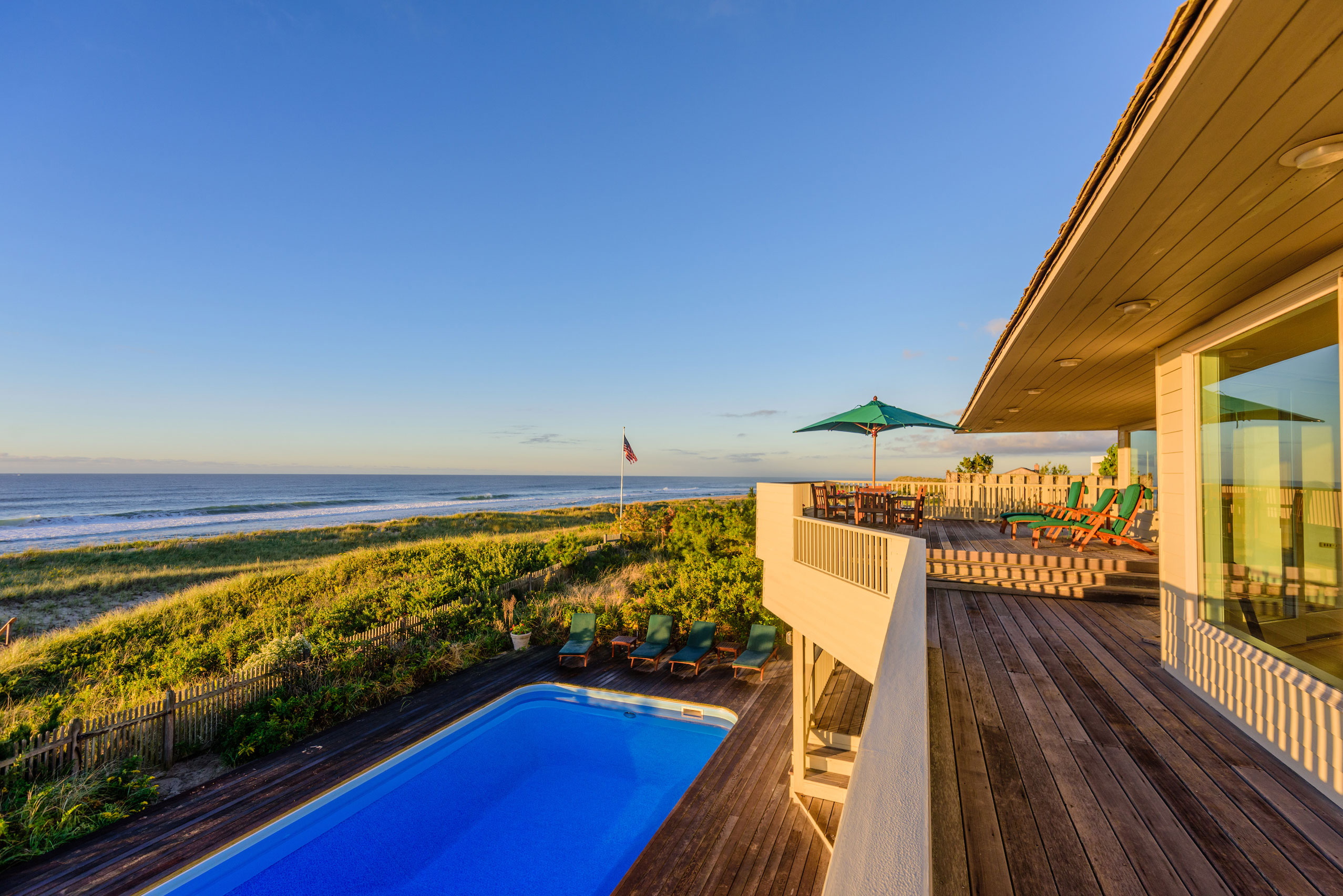 This duneside Amagansett, N.Y., estate is adjacent to a nature preserve.