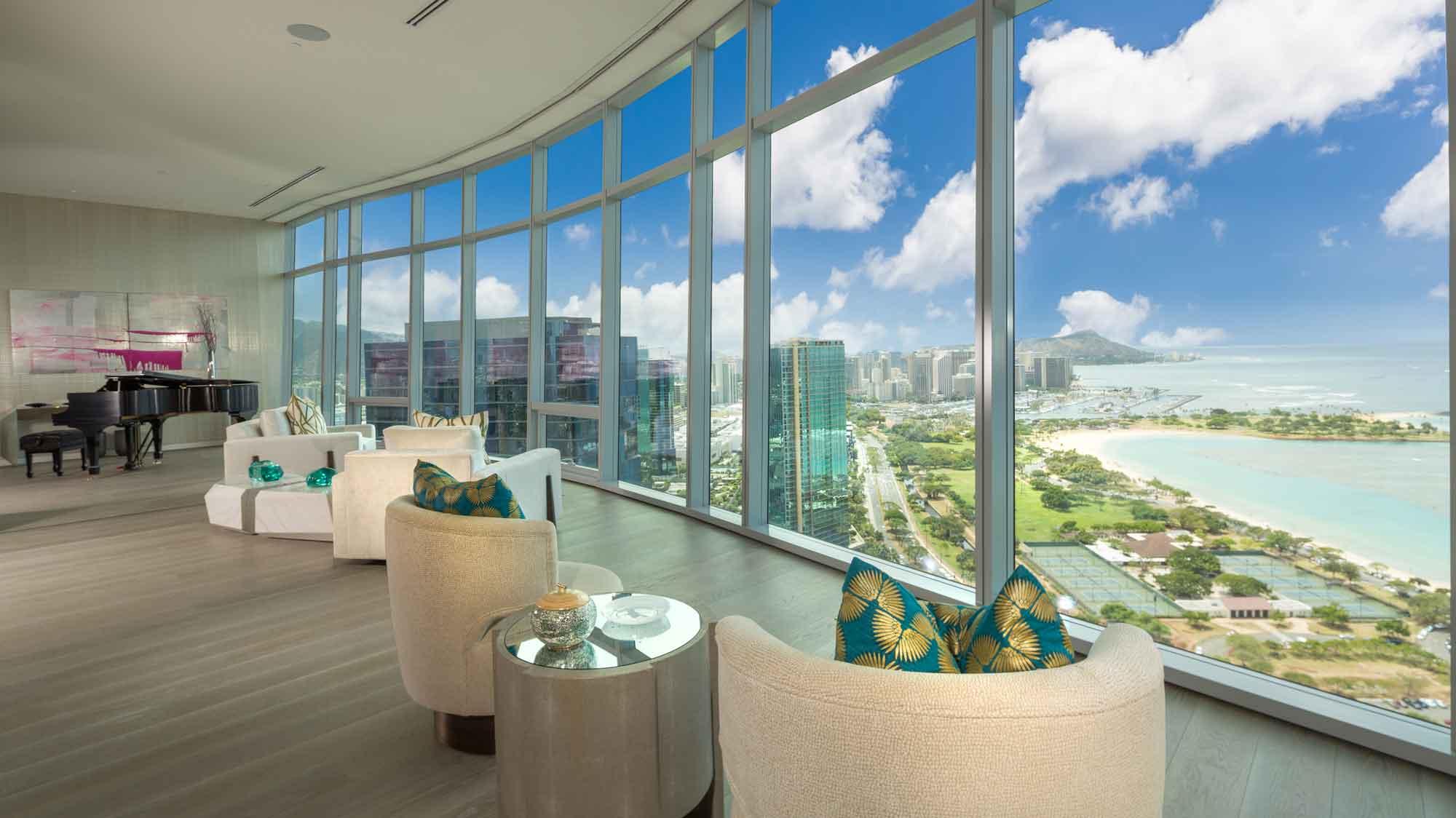 Cinematic vistas of Diamond Head, Waikiki, and Honolulu Harbor area a hallmark of this exclusive Waiea Tower penthouse.