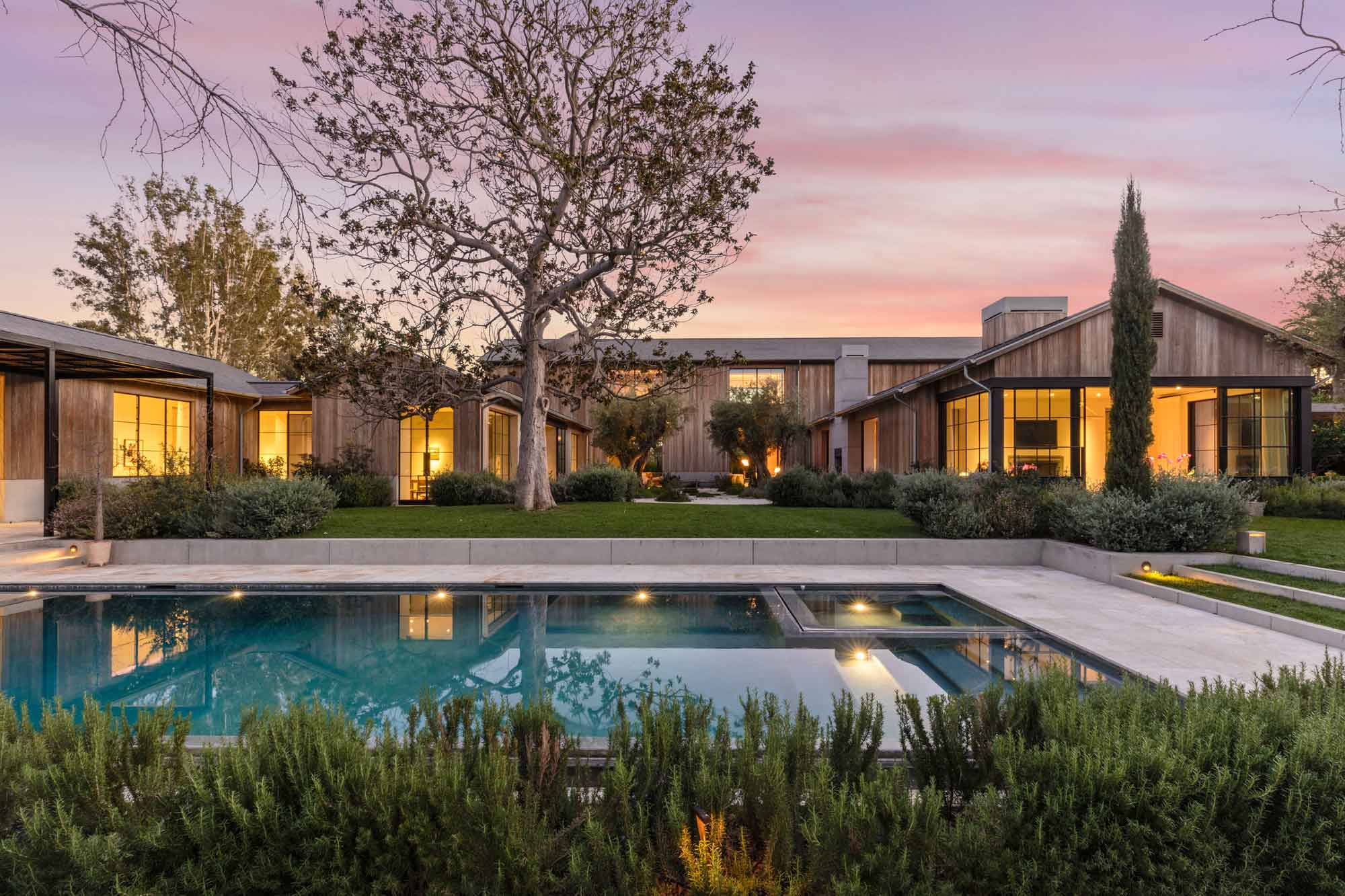 Bruce Karsh's contemporary Holmby Hills farmhouse, formerly owned by the late Paramount Pictures' CEO Brad Grey